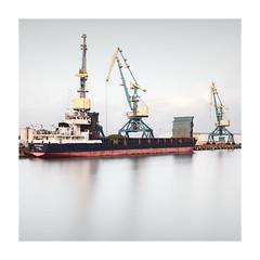 cold harbor II | wismar, 2018 (philippdase) Tags: wismar mecklenburgvorpommern germany longexposure pentaxk1 pentax philippdase harbor port crane boat balticsea ocean water sea fineart mutedcolors