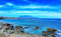 table mountain (heatgirlrvd) Tags: sea blue water church cape town spice route travel trees road dreams sand beach house rocks wine vineyard clouds sky
