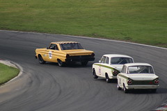 Julian Thomas/Calum Lockie, Ford Falcon; Mark Martin/Andrew Haddon, Ford Lotus Cortina and Geoffrey Letts, Ford Lotus Cortina (Crackers250) Tags: car racing vintage old classic brandshatch mastershistoricfestival 2018 motorsport retro masters pre66 touring cars saloon ford falcon lotus cortina