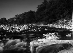 Labeaume 1 (salparadise666) Tags: kw patent etui 9x12 tessar 135mm orange filter fomapan 10064 caffenol cl 40min nils volkmer vintage folding large format analogue film camera labeaume river cevennes france ardeche region monochrome bw black white long time exposure