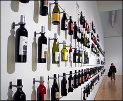 "photo - ""How Wine Became Modern"", SFMOMA (Jassy-50) Tags: photo sanfrancisco california sanfranciscomuseumofmodernart sfmoma museum artmuseum howwinebecamemodern exhibit labelwall winebottle wall"