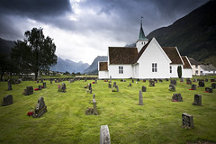 moody Norway (Ela Dzimitko) Tags: norway fjord green moody weather grave graveyeard cemetery temple sky cloudy olden architecture