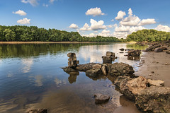 Wet Rocks at Starved Rock (SteveFrazierPhotography.com) Tags: starvedrockstatepark oglesby il illinois bridge construction dredging river water rocks shore shoreline landscape waterscape trees clouds sky sculputures formations blue stevefrazierphotography photographer fisherman stones boulders reflections sand sandy fishing beautiful nature scene scenic scenery