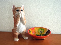 """""""Food Please!"""" (Bennilover) Tags: kitten cats gingercat orangetabby tabbies figurine simon begging bowl mexican explore"""