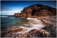 Fond Farewell (Augmented Reality Images (Getty Contributor)) Tags: nisifilters benro bluesky canon cliffs clouds coastline horizon landscape longexposure morayshire portknockie rocks scotland seascape summer water waves
