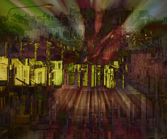 Urban Explosion (Laura Drury) Tags: houses street car roofs chimneys urban town suburbia abstract explosion colour multipleexposure streetlight