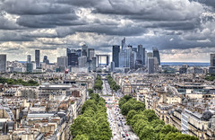 La Defense (Jan Kranendonk) Tags: paris france french ladefense city cityscape urban europe hdr boulevard architecture offices buildings modern sky cloudy clouds trees road street