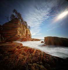 All the bright corners of the world (Zeb Andrews) Tags: realitysosubtle6x6dualpinhole kodakektar realitysosubtle6x6 film mediumformat pinhole pacificnorthwest washington zaahphoto olympicpeninsula secondbeach lensless flare sun pacificocean coast landscape ocean scannedatbluemooncamera nikoncoolscan9000
