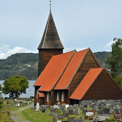 Hamre kyrkje (cinclus66) Tags: squareedit square church architecture wood churchyard cementry tree sea hill sky osterøy norway norge hordaland hamre tower weathercock weathervane longchurch langkirke grave tar