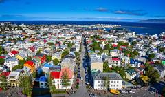 View of Old Historic City Center from Hallgrimskirkja - Reykjavík Iceland (mbell1975) Tags: reykjavík iceland is view old historic city center from hallgrimskirkja island ísland icelandic aerial town harbour harbor port