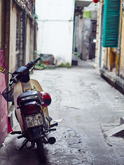 A Parked Scooter in an Alley of Old Quarter Hanoi (marcocarag) Tags: hanoi vietnam vnm scooter