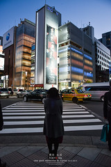 in front of Sony Ginza (Pop_narute) Tags: night ginza tokyo japan street road cross sony building architecture ashihara hermes shop retail store life people japanese