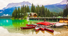 'The Best of Canada?' (howard1916 - Something for everyone!) Tags: canoe boat water lake forest mountain sky nature emeraldlake alberta canada beauty tree
