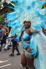 DSC_8233 Notting Hill Caribbean Carnival London Exotic Colourful Blue Costume with Ostrich Feather and Pearl Headdress Girls Dancing Showgirl Performers Aug 27 2018 Stunning Ladies Big Beautiful Woman BBW (photographer695) Tags: notting hill caribbean carnival london exotic colourful costume girls dancing showgirl performers aug 27 2018 stunning ladies blue with ostrich feather pearl headdress big beautiful woman bbw