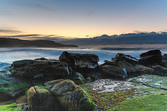 Greens and Blues - a Rocky Sunrise Seascape (Merrillie) Tags: daybreak moss sunrise green cloudy australia water nsw centralcoast clouds sea newsouthwales rocks earlymorning morning blue landscape ocean nature sky waterscape coastal seascape outdoors killcarebeach dawn coast killcare waves
