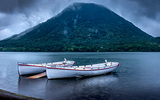 Boats in front of Mt. Haruna