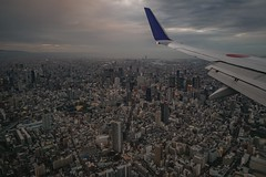 Landing in Osaka (karinavera) Tags: city night photography cityscape urban ilcea7m2 aerial ana landing osaka
