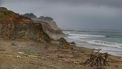 Dark shore (RainerSchuetz) Tags: geo:lat=3559302778 geo:lon=12112525557 coast foggy fog beach highway1 geotagged explore explored california