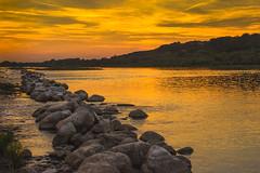 Vistula on the sunset (bożenabożena) Tags: landscape river vistula water sky sunset serene goldhouer krajobraz zachódsłońca rzeka wisła woda niebo złotagodzina 3niebo kamienie stons