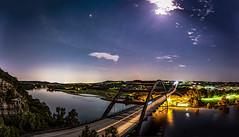 Pennybacker Moonbeams Pano 2 (sassiitalytours) Tags: austin pennybacker bridge nightphotography longexposure pano