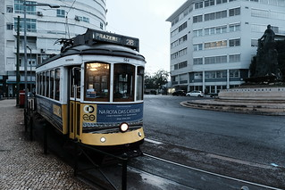 Tram 28 early morning @ final stop Prazeres