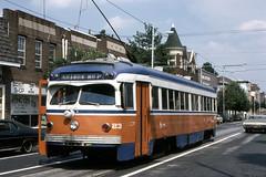 US PA Philadelphia SEPTA-PSTC Red Arrow 23 10-1982 State St Media (David Pirmann) Tags: pa pennsylvania philadelphia septa redarrow pstc philadelphiasuburbantransco interurban train trolley tram transit railroad