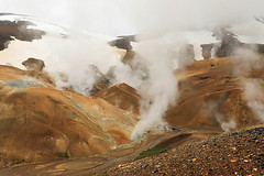 In the highlands of Iceland, on top of the mountain. Place with geothermal activity (fumaroles down in the valley and clouds above) (lotusblancphotography) Tags: iceland islande nature highlands landscape mountains montagnesfumaroles fumerolles geothermal ice glace