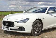 IMG_3312 (Kev Gregory (General)) Tags: white maserati ghibli 30 v6 luxury car set against foreboding sky parked up fenland countryside cambridgeshire sports kev gregory canon 7d clouds storm contrast beautiful powerful elegant