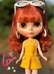 She's a pretty one alright! 💖. Haven't touched her hair..haven't even fluffed it (other than her tipping over during shooting).  It's pretty perfect as is. Sarahshades. (Painters Life) Tags: yellow 70s 60s takara blythe doll redhead carnabystreet mod sarahshades