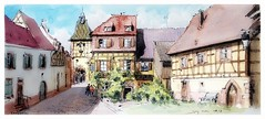 Bergheim - Alsace - France (guymoll) Tags: bergheim alsace france croquis sketch aquarelle watercolour watercolor aguarela porte tour colombages panoramique panoramic