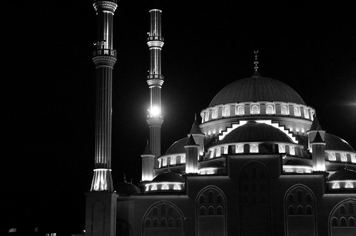 Central Mosque (Black and White) 2 - Grozny, Chechnya