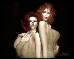 Kay and Play - Lace Twins (Kaylahny) Tags: sl slphotography secondlife redheadavatars twins friends slfamily slfriends glasses femaleavatar firestormviewer lumipro
