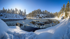 Kitkajoki ice circle (M.T.L Photography) Tags: kuusamo juuma kitkajoki riverkitkajoki icecircle mikkoleinonencom mtlphotography panoramicphotography winter ice trees forest rocks mountain bright sun day snow nikond810
