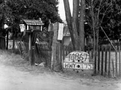 14867 Times 3 (squirtiesdad) Tags: mailbox newspaper delivery box roadside summit valley trees wooden fence bwfp diyselfscanning selfdeveloped kodak duex epson v600 blackwhite bw monochrome analogue analog aristaedu arista iso100 film 620