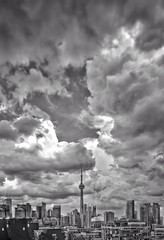 Drowned Sky (JamesAnok || ThetaState) Tags: unsettledweather dreaming longweekend labourday storm clouds sky urban building cityscape city cntower monochrome 2018 september canada ontario toronto