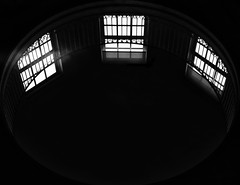 The Three Fates (annie.cure) Tags: atmosphere strange house windows effect exposure repetition texture three mysterious monochrome blackandwhite blur view noise memories light dark porto portugal canon 750d fates round circle