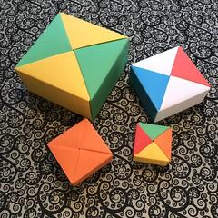 ORIGAMI BOXES (2) (JOHN MORGANs OLD PHOTOS.) Tags: made by john morgan 160 gsm card for my ribbon brooches origami boxes box