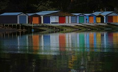 Colourful Boat Sheds - Akaroa Harbour, Duvauchelle Bay (Maureen Pierre) Tags: xt2 fujifilm akaroaharbour duvauchelle bay landscape bankspeninsula newzealand reflection colour low tide boat shed boatshed