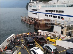 Horseshoe Bay Departure BC18h15 LG (CanadaGood) Tags: canada bc britishcolumbia horseshoebay bcferries ferry sea howesound people person dock harbour parking canadagood 2018 thisdecade color colour cameraphone motorcycle