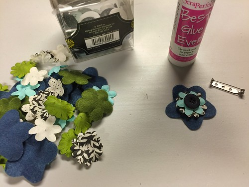 choosing the colors for the floral pin
