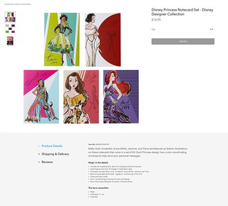2018 Disney Princess Notecard Set - Disney Designer Collection - Premiere Series - US ShopDisney - Merchandise Release - Product Page