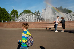 Saint-Petersburg, Russia (f.d. walker) Tags: easterneurope europe russia saintpetersburg stpetersburg rainbow color colors candidphotography candid colorphotography city clothes children child contrast streetphotography street sunlight sun surreal fountain park
