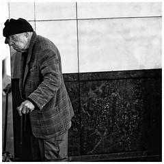 Breaking the rule of thirds (gro57074@bigpond.net.au) Tags: city cbd sydney pittstreetmall candidstreetphotography candidportrait streetphotography cane walkingstick oldman unbalanced visualtension breakingrules reflection monochrome 50mmf14 artseries sigma d850 nikon blackwhite bw
