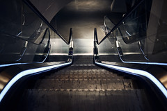 So many ways (iamunclefester) Tags: münchen munich escalator moving stairway staircase lines stairs reflexion perspective lonely blue