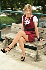 Back to front dress (Miss Nina Jay) Tags: dress heels trannie tights
