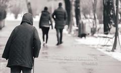 Difference in years ... :-?? (Radu-Alexandru) Tags: oldlady couple blackandwhite bw bnw winter park bucharest medicaments happy sad romania porst135mm life sonyalpha 135mmf28