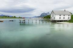 Kjerringoy. Nordland. Norway (ibethmuttis) Tags: ibeth sky mountain water fjord green house fishing clouds reflects kjerringoy norland norway panasoniclx100 boats