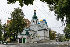 Church of the Myrrh-bearing Women (Oleg.A) Tags: ancient autumn nizhnynovgorod church cloudy brick city overcast outdoor materials bell clouds old exterior blue cathedral dome cross style gold orthodox morning architecture park antique russia design white catedral golden outdoors town nizhnynovgorodoblast ru