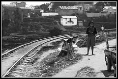 Railway (ulisseofthevastocean) Tags: railway blackwhite madagascar people waiting