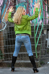 Yvonne 29 (The Booted Cat) Tags: sexy blonde hair girl model tight blue jeans denim belt leather jacket heels highheels boots ass
